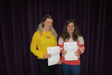 Holly and Ana celebrate with their results.