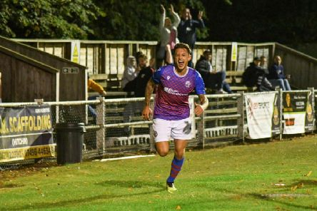 Jack Ashton shows his delight after he gave AFC Rushden & Diamonds the lead in their 1-1 draw at Hitchin Town on Monday. Picture courtesy of HawkinsImages