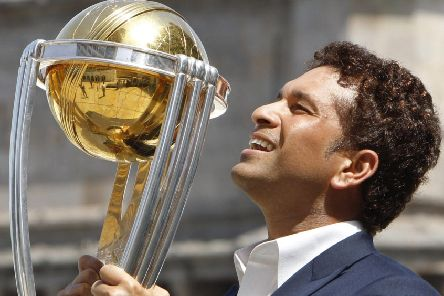 Indian superstar Sachin Tendulkar with the ICC World Cup.