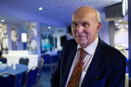 Vince Cable at the Peterborough United ground. Photo: Terry Harris