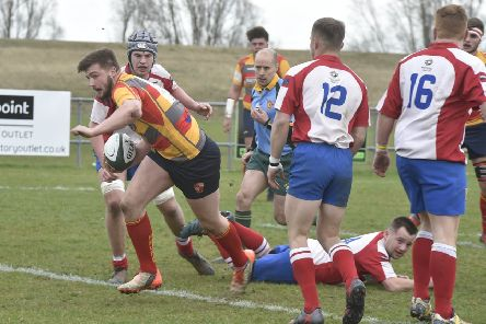 Rob Mould scores a try for Borough against Wellingborough. Picture: David Lowndes
