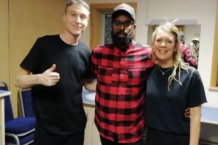 Gareth and Lynn with comedian Romesh Ranganathan