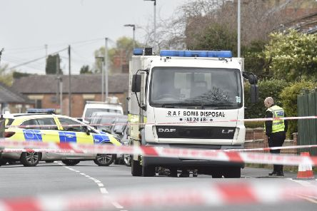 The bomb squad in New Road on Saturday