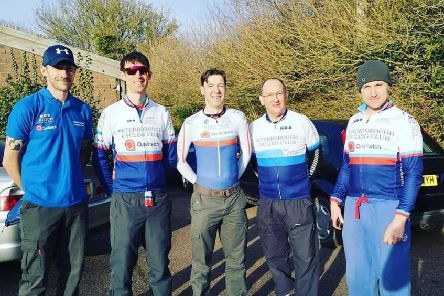 The Peterborough Cycling Club team. From the left they are James Boardley, Paul Pardoe,  Adrian McHale, Phil Jones and Matt Senter.