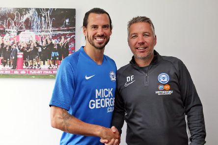 George Boyd with Posh manager Darren Ferguson. Photo: Joe Dent/theposh.com.
