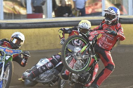Panthers rider Charles Wright is about to come a cropper in the meeting with Belle Vue. Photo: David Lowndes.