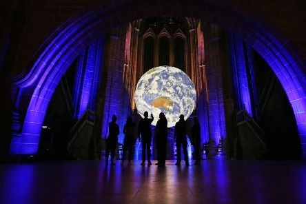 Gaia at Liverpool Cathedral for Liverpool City Council�s River Festival, 2019. Photo by Gareth Jones