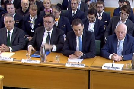 Former Chair of Remuneration Committee at Thomas Cook Warren Tucker, left, former CFO of Thomas Cook Sten Daugaard, former CEO of Thomas Cook Peter Fankhauser and  former chairman of Thomas Cook Frank Meysman pictured, during the Business, Energy and Industrial Strategy Committee inquiry into the collapse of the British travel operator, at Portcullis House in Westminster.''Picture: House of Commons/PA Wire