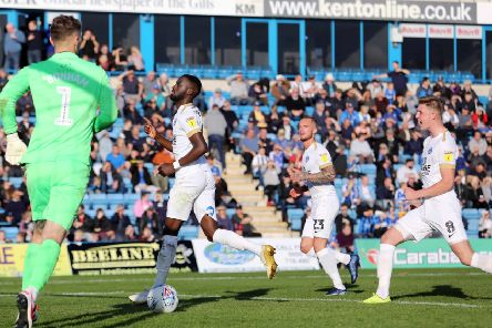 Mo Eisa celebrates after scoring for Posh from the penalty spot at Gillingham. Photo: Joe Dent/theposh.com.