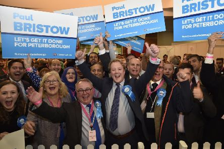 Paul Bristow celebrates his election victory