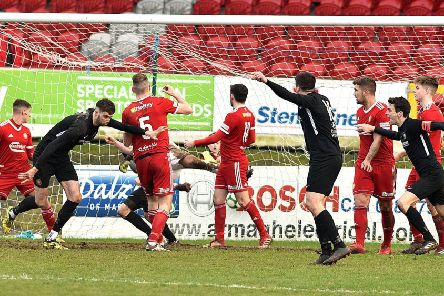 Caolan Loughran's last-gasp goal left Carrick Rangers with a 2-2 draw from the weekend visit to Portadown. Pic by Tony Hendron.