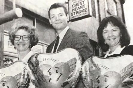 Wendy Austin, Dr Colin Boreham and Laura Quinn, the NI Chest Heart and Stroke appeals coordinator for Armagh celebrate the annual Have a Heart Appeal in 1993