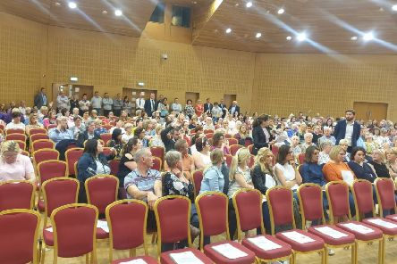 Large crowd attends consultation at Craigavon Civic Centre on proposals to shut Breast Screening Service in Craigavon Hospital