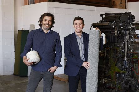Mario Sierra, Creative Director, Mourne Textiles (left) and David Acheson, Head of Strategic Operations at Ulster Carpets, pictured in the new workshop of Mourne Weavers.