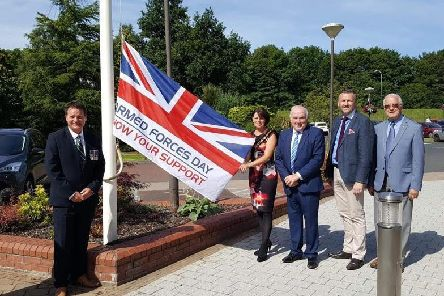 Ulster Unionist Councillors with the Armed Forces Day Flag at Craigavon Civic Centre