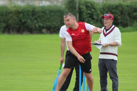 Portadown manager Matthew Tipton on show at the weekend in the Super 8s tournament organised by Laurelvale Cricket Club. Looking on for the hosts is Wesley Best. Pic courtesy of Portadown FC.