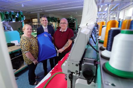 Paul Reid (centre), business development manager at Ulster Bank, pictured at the new C&G Embroidery premises with Carol and Gary Winter.