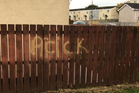 Graffiti which appeared at the home of elderly residents in Ardowen.