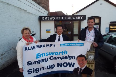 Alan Mak MP, centre, with Emsworth councillors Rivka Cresswell and Richard Kennett