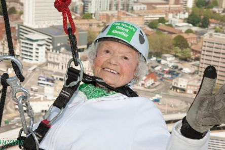 'Daring' Doris Long MBE, who holds the Guinness World Record for the oldest person to abseil after completing the challenge at the Spinnaker Tower in 2015 at the age of 101