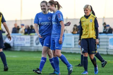 Rachel Panting (right) celebrates a goal in Pompey Women's Hampshire Cup victory over Eastleigh. Picture: Jordan Hampton