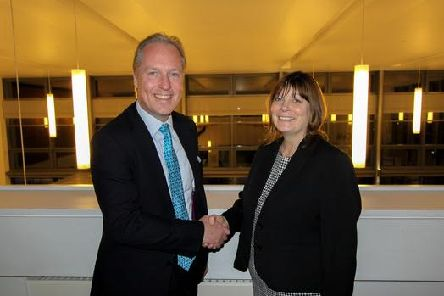 Havant Borough Council leader Michael Wilson and new chief executive Gill Kneller