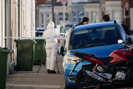 Police in Hudson Road, Somers Town after the shooting. Picture: Habibur Rahman