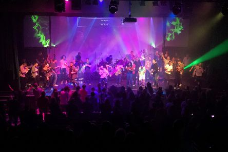 The band leads worship at the Empower Conference 2018 in Ferneham Hall, Fareham