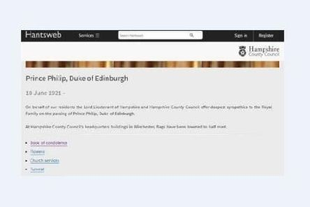 Hampshire County Council website wrongly announces Prince Philip's death