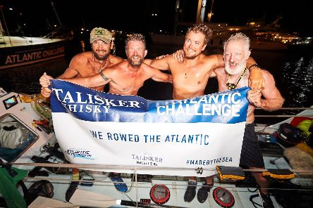 The team Row, Row, Row Our Boat - Andy Williams, Nick Wright, Andrew Burns and Jonny Bayley, who finished 9th out of 29 other rowing teams from across the world'Picture: Ben Duffy