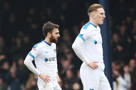 Ben Close, left, and Ronan Curtis dejected at Southend. Picture: Joe Pepler