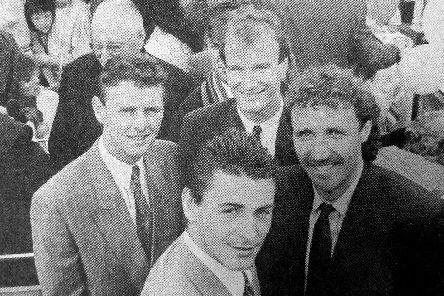 Mick Kennedy, front, with then Pompey team-mates  Kevin O'Callaghan, left, Mick Tait, right, and Billy Gilbert on an open-top bus at the start of their city tour