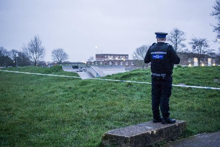 Police at the scene of the incident on Friday. Picture: Habibur Rahman