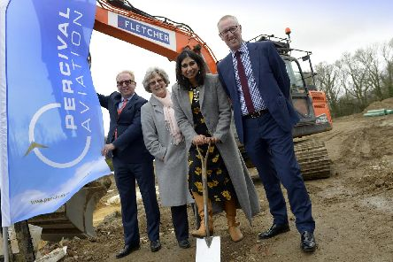 Pictured left to right is Mike Forster, managing director at Marick Developments, which is building a new unit for Percival Aviation; Fareham councillor Connie Hockley; Fareham MP Suella Braverman and Neil Percival chief executive at Percival Aviation. Picture: Ross Lucas-Young