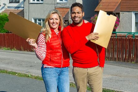 Peoples Postcode Lottery ambassadors Judie McCourt and Danyl Johnson will be knocking on doors on the day to present winners with their cheques. Photo:  Darren Casey/DCimaging