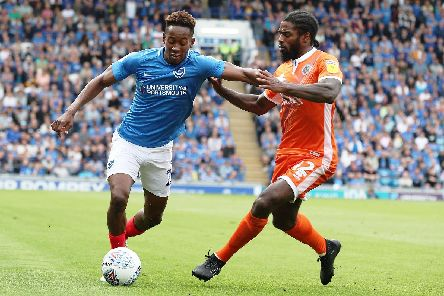 Jamal Lowe in action against Shrewsbury at Fratton Park. Picture: Joe Pepler