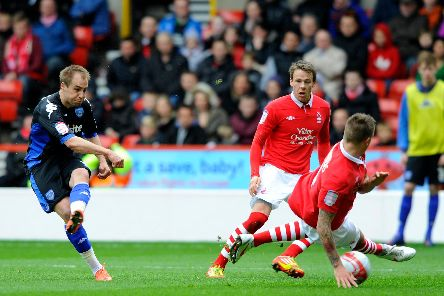Luke Varney in action for Pompey in 2012. Picture: Allan Hutchings (121503-039)