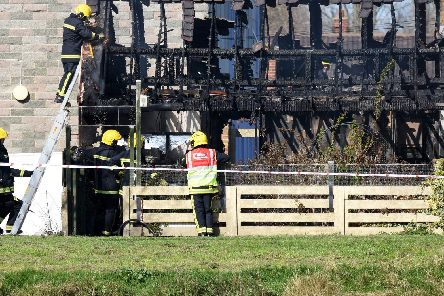 Firefighters are battling a fire at a home in Nyria Way off Willis Road Gosport. Picture: Daniel Harbut