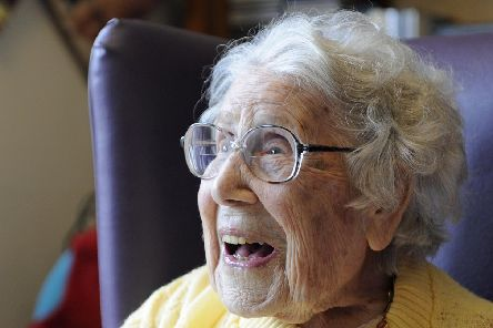 Kathleen Richards celebrates her 105th birthday with her family and staff at Beechcroft Manor Nursing Home in Gosport. Picture: Ian Hargreaves