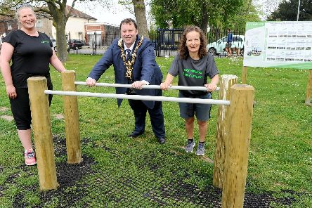 From left, Beth Hayward, founder of Parkletics, The Lord Mayor of Portsmouth Lee Mason and Katie Carew-Robinson, Parkletics instructor. Picture: Sarah Standing (220419-6399)