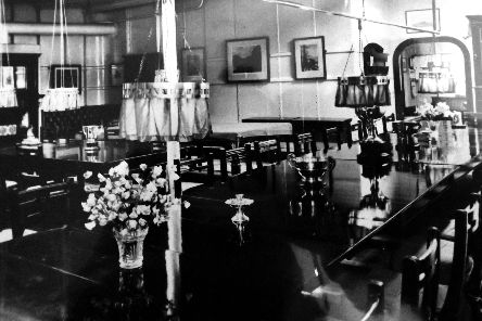 How the other half lived... the wardroom in HMS Hood, 1910. Picture: Wright & Logan/George Milliner postcard collection