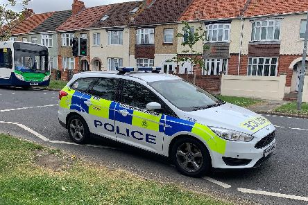 Police in Copnor Road after a woman suffered a medical episode on April 24.