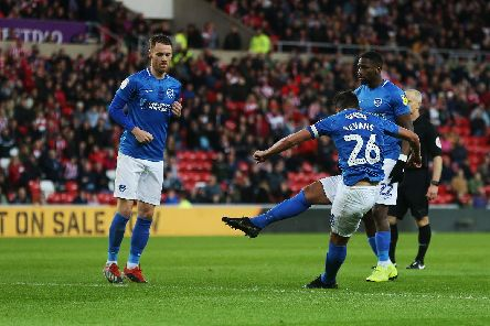 Gareth Evans hits the crossbar from a free-kick, representing Pompey's best chance during their play-off semi-final first leg at Sunderland. Picture: Joe Pepler