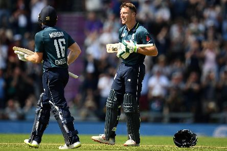 Jos Buttler celebrates after scoring a century against Pakistan at the Ageas Bowl. Picture: Harry Trump/Getty Images