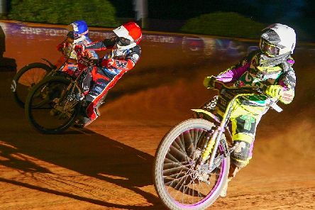 Tom Brennan, Ben Morley, red, and Danno Verge, blue, competing when Wightlink Warriors faced Cradley Heathens in the first leg at Smallbrook Stadium. Picture: Ian Groves/Sportography