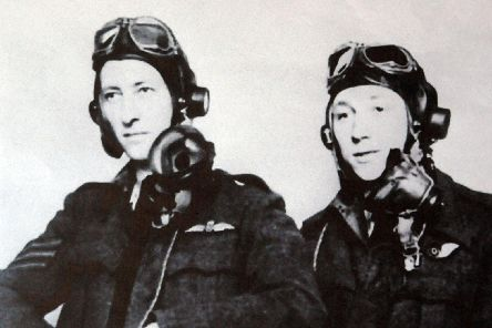 The two Australian airmen, Edward Wicky DFC, left, and Oswald Mountford DFC, who died when their Mosquito crashed at Horndean.