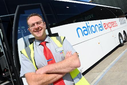 Fareham based Lucketts Travel coach driver Steve Small (38) from Gosport, is fast becoming an online sensation after videos of him giving comedy announcements on board have proved a hit with passengers.''Picture: Sarah Standing (210519-9889)