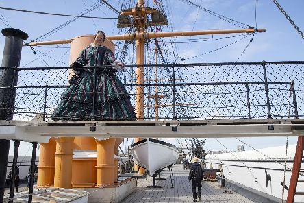 Agatha Robinson, a Victorian tourist who hails from a naval family, has a look around HMS Warrior in Portsmouth Historic Dockyard