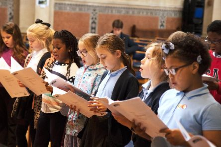 Pupils in rehearsal for The Key Note of Everything to be SIMPLICITY, a D-Day 75 commemorative event, taking place on Southsea Common on June 7.