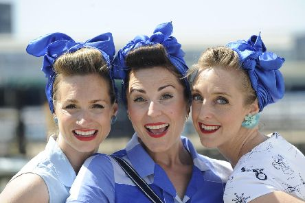 D-Day event at Portsmouth Historic Dockyard. (l to r), Kitty White, Peggy Rose and Nel Narker...The Cha Cha Cha's. Picture: Ian Hargreaves (010619-1)